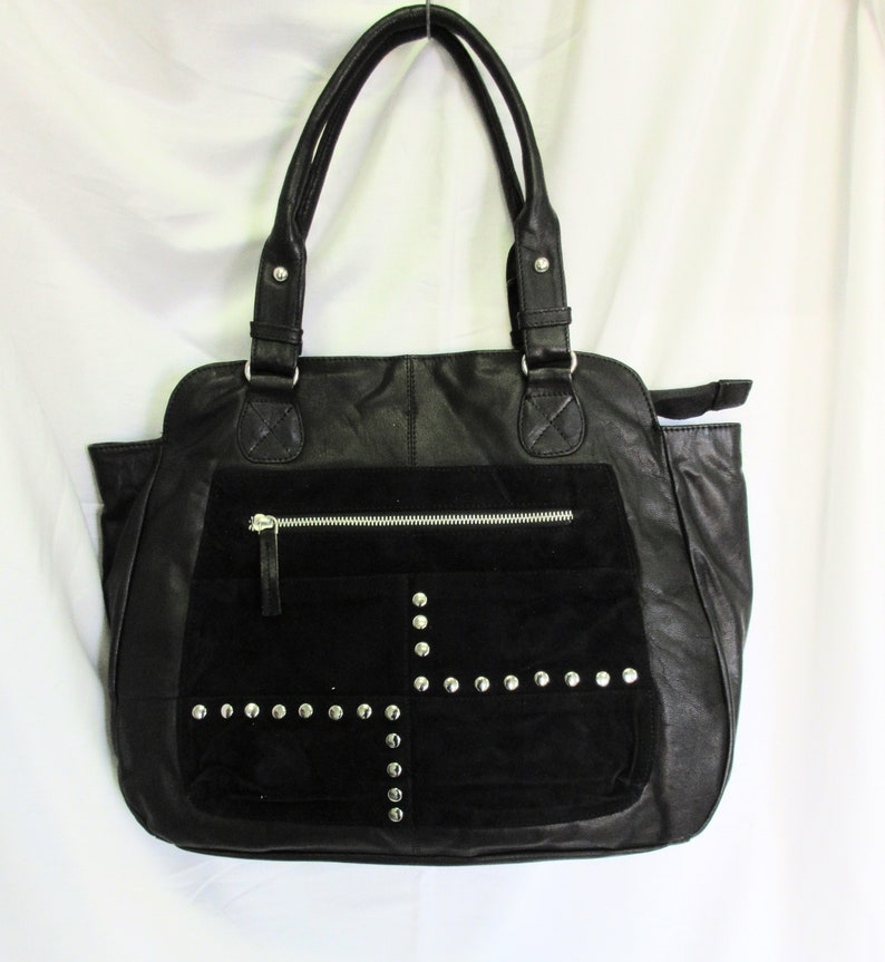 Nappa Leather and suede tote with studded detail image 0