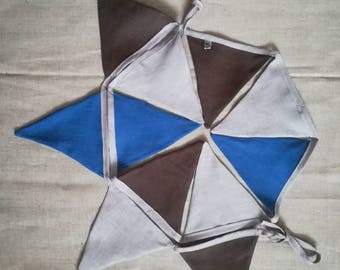 Bunting, Flags, Banner - blue, gray, brown.