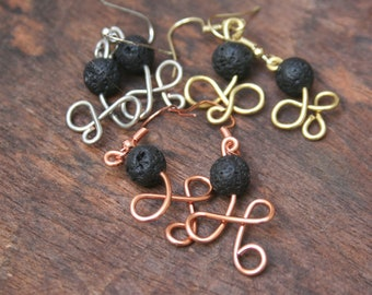 Diffuser Earrings, silver, copper, gold Lava Bead Earrings, Essential Oil Earrings, Aromatherapy Earrings, Lava Stone Diffuser Earrings