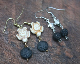 Turtle Essential Oil Diffuser Earrings, Lava Bead Dangle Earrings, Sea Turtle Lover Earrings, Lava Stone Earrings, Ivory Silver Turtles