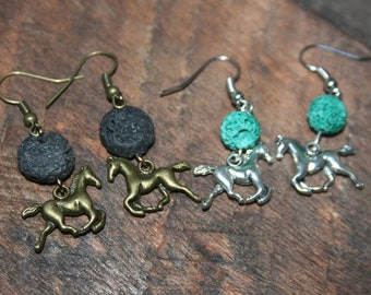Horse Essential Oil Diffuser Earrings, Lava Bead Dangle Earrings, Horse Lover Earrings, Lava Stone Earrings, Gold Silver Horses