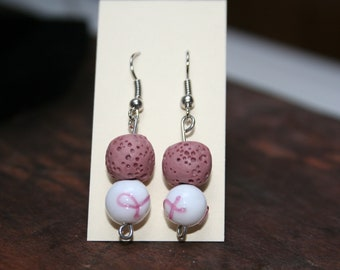 Essential Oil Diffuser Earrings, Breast Cancer Support,  Lava Bead Earrings, Lava Stone Dangle Earrings, Aromatherapy, Cancer Survivor Gift