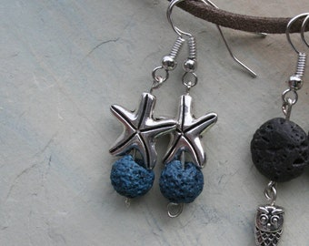 Starfish Essential Oil Beaded Diffuser Earrings, Lava Bead Earrings, Lava Stone Dangle Earrings, Aromatherapy, Starfish