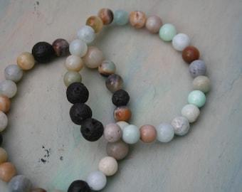 Diffuser Bracelet,  Essential Oils Bracelet, Lava Stone Bracelet, Amazonite Stone Bracelet, Beaded Diffuser, Aromatherapy, Light Blue, Lava