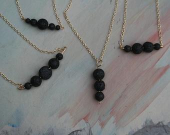 Diffuser Necklace Minimalist Gold, Essential Oil Diffuser Necklace Gold Chain, Aromatherapy Necklace, Natural Lava Bead Necklace, Diffuser