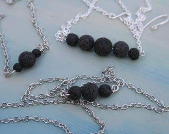 Essential Oil Diffuser Necklace, Aromatherapy Necklace, Natural Lava Bead Necklace, Diffuser Chain, Lava Stone Necklace, Minimalist