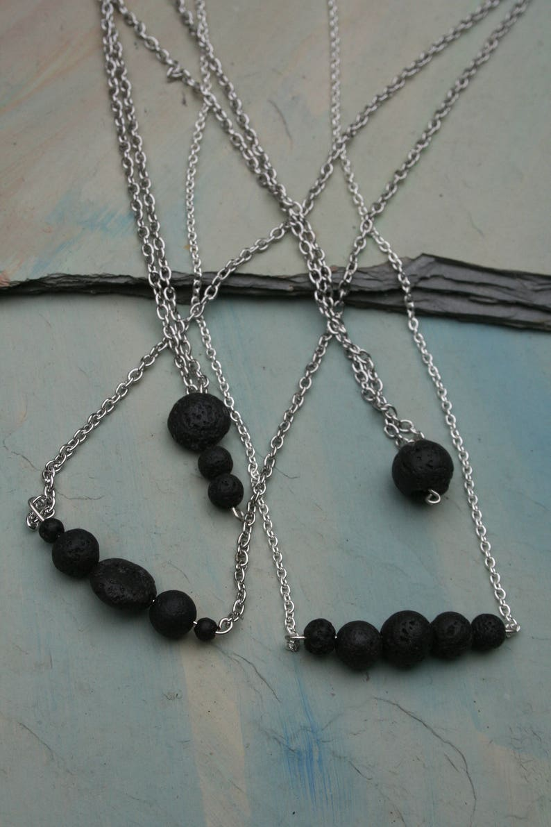 Minimalist Natural Lava Bead Necklace Essential Oil Diffuser Necklace Lava Stone Necklace Aromatherapy Necklace Diffuser Chain