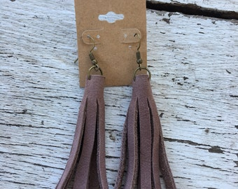 Leather tassle earrings
