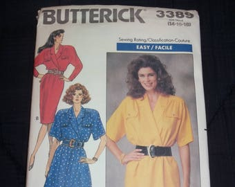 Butterick Misses' Dress - Shawl Collar circa 1989 Sewing Pattern