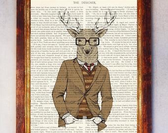 Fashion Reindeer Art Print, Deer with Glasses Print, Deer Wall Art, Book Art Deer Print, Animal Print, Deer Poster, Deer Illustration