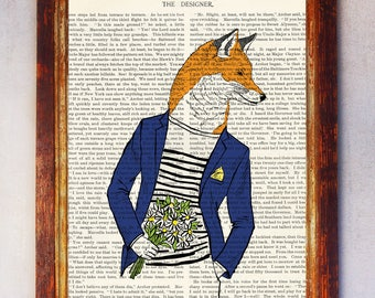 Fox with Blue Suite holding a Bouquet of Flowers Art Print, Fox Wall Print, Book Art Fox Print, Fox Artwork, Fox Poster, Anthrpomorphic Fox