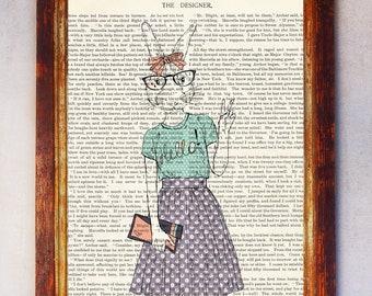 Female Rabbit wearing Purple Skirt and Eyeglasses Waving Art Print, Rabbit Decor, Book Art Rabbit Print, Rabbit Poster, Nursery Art Girl