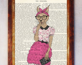 Female Cougar wearing Eyeglasses with Pink Skirt and Pink Bow laughing Art Print, Cougar Wall Print, Book Art Cougar Print, Cougar Poster