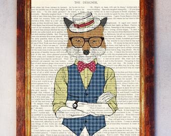 Fox Ice Cream Seller wearing a White Hat and Red Bow Art Print, Fox Wall Print, Book Art Fox Print, Fox Art, Fox Poster, Nursery Print Boy
