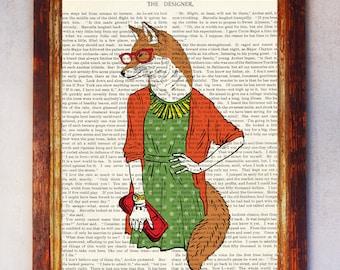 Female Fox with Red Glasses and Green Dress holding a Red Clutch Art Print, Fox Wall Print, Book Art Fox Print, Fox Artwork, Fox Poster