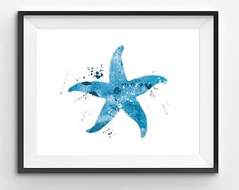 Blue Starfish Watercolor Print, Animal Print, Starfish Digital Print, Abstract Starfish Print, Starfish Art, Sea Animals, Kids Wall Art