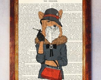 Female Fox with Hat and Cigarette Art Print, Fox Wall Print, Fox Wall Art, Book Art Fox Print, Animal Print, Fox Artwork, Fox Poster