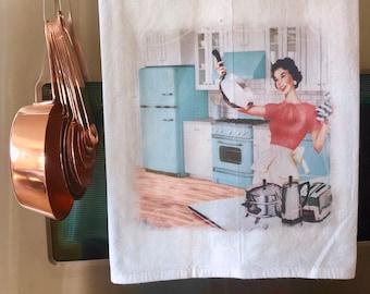 Vintage-Inspired Kitchen Towel - Retro Turquoise
