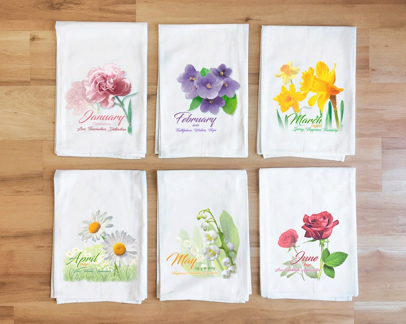 Birth Month Flour Sack Towel Gladiola Flower of the Month August Kitchen Towel