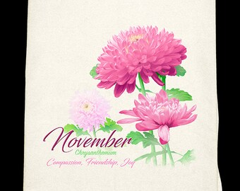 November Chrysanthemum Kitchen Towel - Flower of the Month
