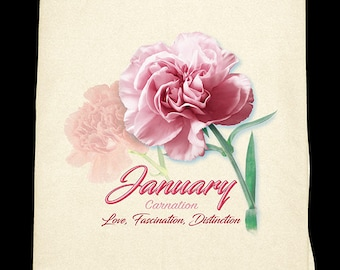 January Carnation Kitchen Towel - Flower of the Month
