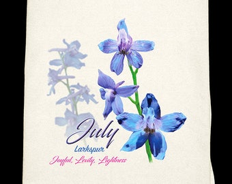 July Larkspur Kitchen Towel - Flower of the Month