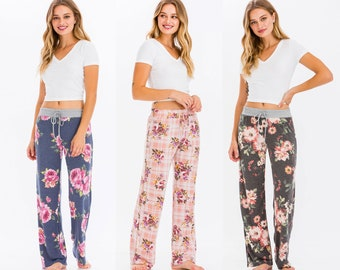 Alice & Me Women's Floral Print Loungewear Pants Pajama Comfy/Stretch/Elastic Waistband - Made in USA*