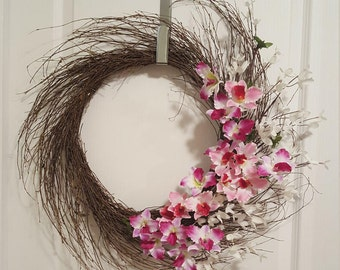 Mother's Day Wreath, Spring Twig Wreath, Forsythia Twig Wreath
