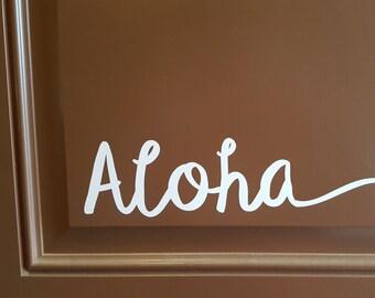 Aloha vinyl decal for front door