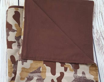 Baby Boy Blanket double-sided Camouflage/Brown flannel