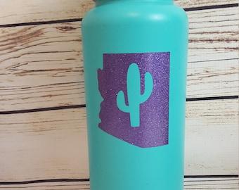 Arizona Home Cactus State Glitter Vinyl Decal