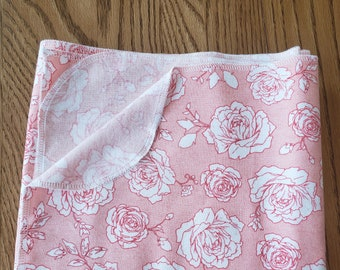 Baby flannel swaddle blanket roses