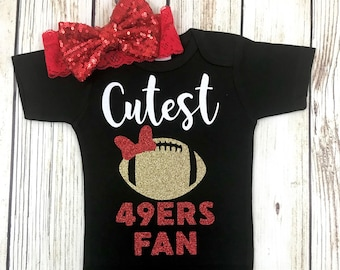 cutest 49ers fan football bodysuit outfit for baby girl