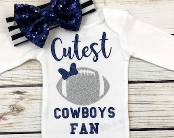 Cutest Cowboys Fan Football Bodysuit Outfit For Baby Girl