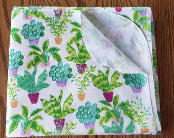 Baby flannel swaddle blanket house plants