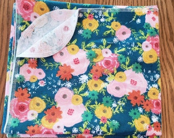 Baby flannel swaddle blanket fun floral