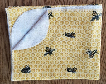 Baby flannel swaddle blanket Honeycomb