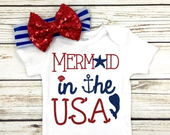 Mermaid In The USA Baby Girl 4th Of July Bodysuit Outfit