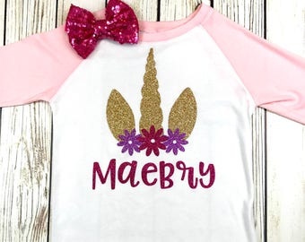 {Custom Name Unicorn Raglan}