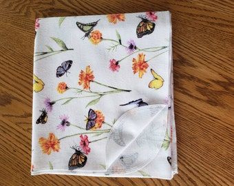 Baby flannel swaddle blanket floral butterfly