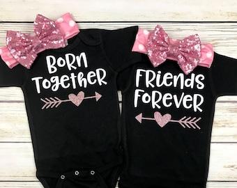 {Born Together Friends Forever} Black & Pink