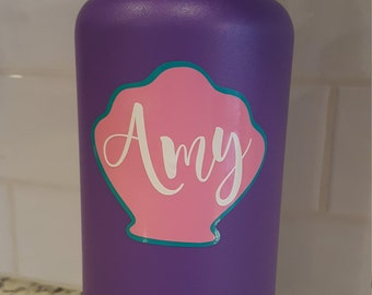 Layered Seashell with custom name vinyl decal for flask,yeti,waterbottle