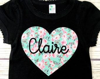 {Custom Name Heart Floral}