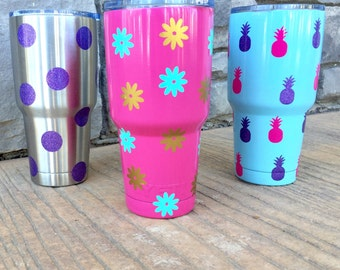 polka dot, flower, pineapple vinyl stickers for Flask Water Bottle, Car Decal, Lap Top Decal