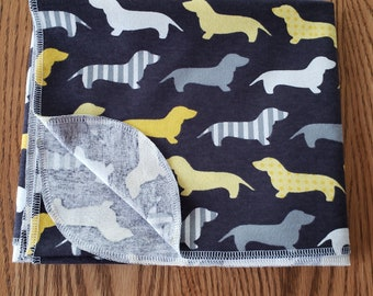 Baby flannel swaddle blanket Dachshund