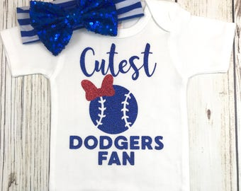 Cutest Dodgers Fan Baseball Outfit For Baby Girl 3f7a124ce8c