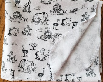 Baby flannel swaddle blanket jungle animal