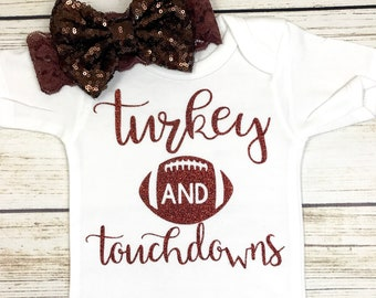 6d69f9fd6 Turkey And Touchdowns Football First Thanksgiving Baby Girl Bodysuit Outfit  New Design