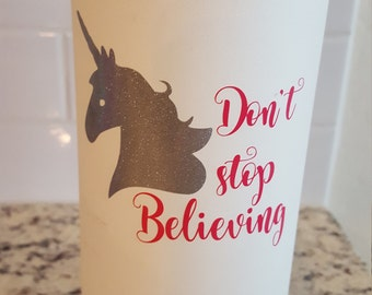 Unicorn Don't Stop Believing Decal Sticker For  Flask Water Bottle Yeti Decal