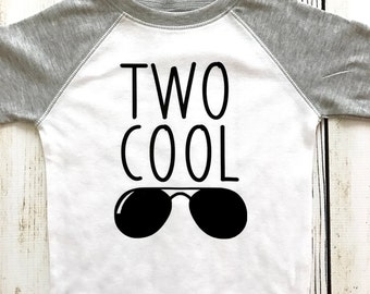 Two Cool Toddler White and Gray Raglan T-shirt